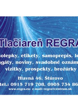 Tlačiareň REGRA - tlaciaren