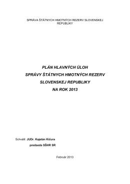 Plán hlavných úloh SŠHR SR na rok 2013