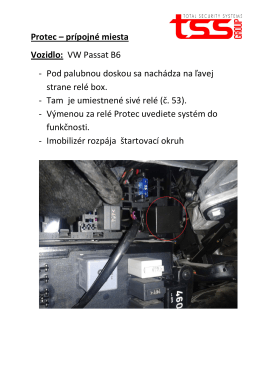 Protec – prípojné miesta Vozidlo: VW Passat B6 - Pod