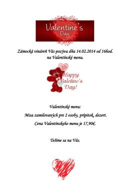 Zámocká vináreň Vás pozýva dňa 14.02.2014 od 16hod. na