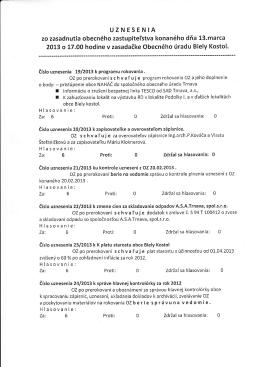 Uznesenie zo zasadnutia obecného zastupiteľstva