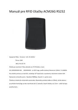 Manuál pre RFID čítačky ACM26G RS232