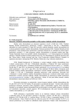 Zápisnica z rokovania RVZ zo dňa 26.07.2012