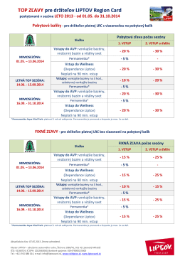 TOP ZĽAVY pre držiteľov LIPTOV Region Card
