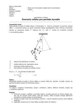 Teória - Overenie vzťahu pre periódu kyvadla
