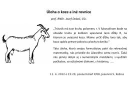 Úloha o koze a iné rovnice