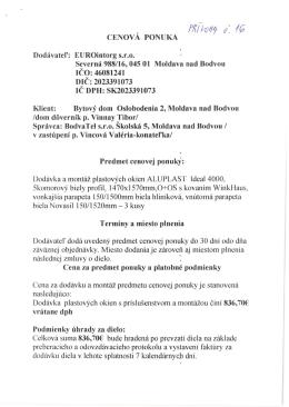 CENOVÁ PONUKA Dodávatel`: EUROintorg S.r.o. Severná 988/16
