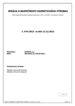 Správa o bezpečnosti kozmetického výrobku GIRASOL Hemoroidy