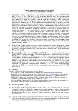 Pravidla sutaze Startovaci balicek TV JOJ 2013