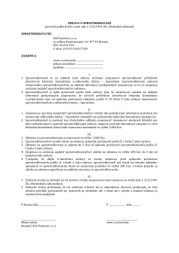 Zmluva o sprostredkovaní medicínskej konzultácie