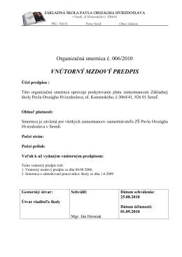 (Vnútorný mzdový predpis) - Základná škola Pavla Országha