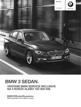 Cenník BMW radu 3 typ F30
