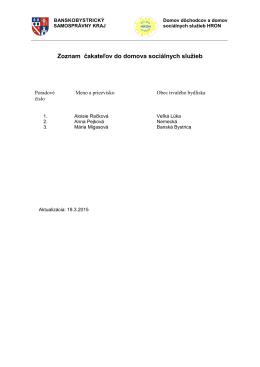 Zoznam čakateľov do DSS - Domov dôchodcov a domov sociálnych