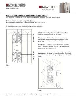 Pokyny pre nastavenie závesu TECTUS TE 340 3D