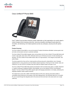 Cisco Unified IP Phone 8945 Data Sheet