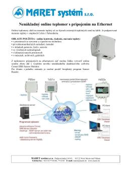 Nenákladný online teplomer s pripojením na Ethernet