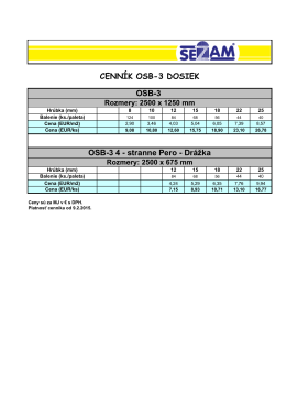OSB-3 4 - stranne Pero - Drážka CENNÍK OSB-3 DOSIEK