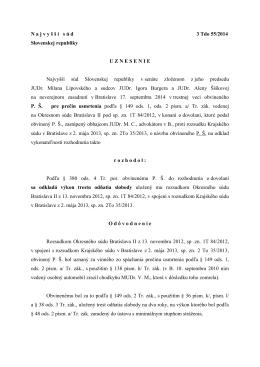 N a j v y š š í s ú d 3 Tdo 55/2014 Slovenskej