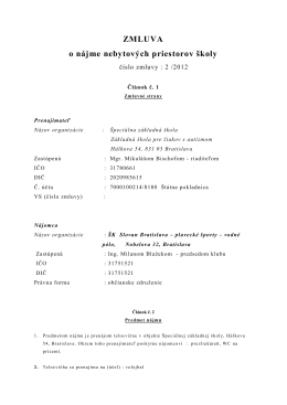 2/2012 ŠK Slovan Bratislava plavecké športy – vodné pólo
