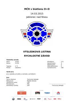 MČR v biatlonu D+D 14.03.2015 Jablonec nad