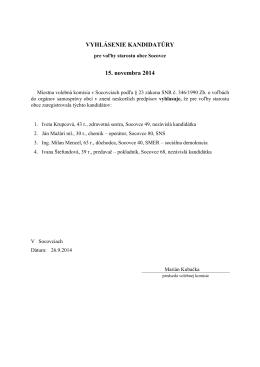 Vyhlásenie kandidatúry starosta 2014