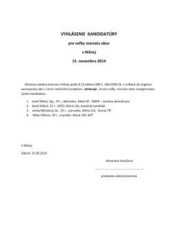 Vyhlásenie kandidatúry starosta