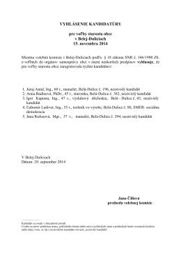 Vyhlásenie kandidatúry - starosta - Belá