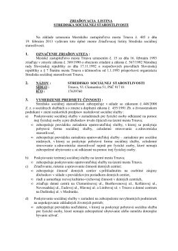 Zriaďovacia listina SSS - Stredisko sociálnej starostlivosti