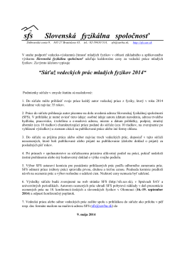 sfs Slovenská fyzikálna spoločnosť
