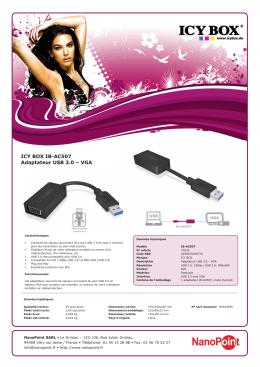ICY BOX IB-AC507 Adaptateur USB 3.0 – VGA