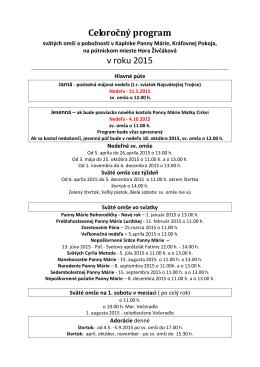 Celoročný program v roku 2015