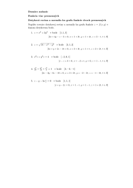 Domáce zadanie Funkcia viac premenných Dotyková rovina a