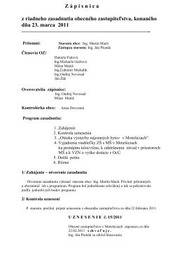 Zápisnica zo zasadnutia OcZ 23. 03. 2011