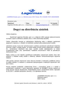 Tender Lagermax Slovakia, spol. s.r.o.