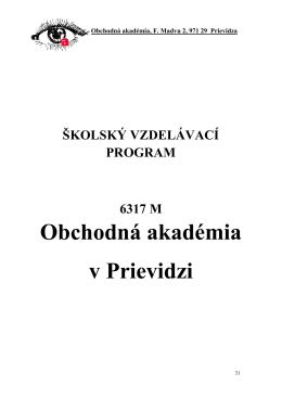 Školský vzdelávací program Obchodná akadémia v Prievidzi