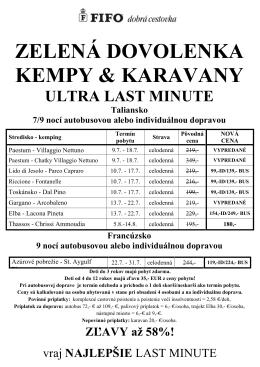 ZELENÁ DOVOLENKA KEMPY & KARAVANY ULTRA