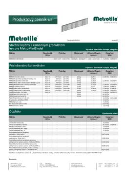 Produktový cenník MetroMiniŠindel177.15 KB