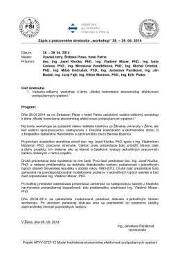 """Zápis z pracovného stretnutia """"workshop"""" 28. – 29. 04. 2014"""