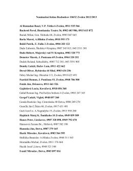 Nominačná listina Rozhodcov ObFZ Zvolen 2012/2013 Al Ramadan