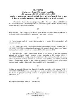 OPATRENIE Ministerstva financií Slovenskej republiky z 26