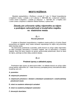 MESTO ROŽŇAVA Zásady pre určovanie výšky nájomného za