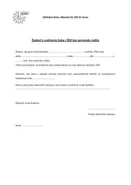 Žiadosť o uvoľnenie žiaka z ŠKD bez sprievodu rodiča