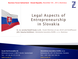 Legal Aspects of Entrepreneurship in Slovakia, Zuzak