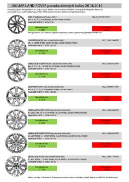 JAGUAR LAND ROVER ponuka zimných kolies 2013/2014