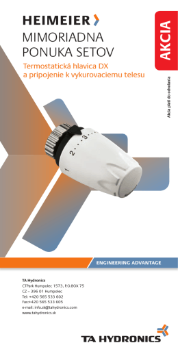MiMoriadna ponuka setov - IMI Hydronic Engineering