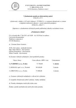 Vyhodnotenie ponúk - Univerzita Komenského
