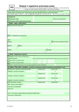Žiadosť o registráciu právnickej osoby