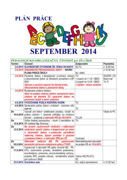 plán práce september 2014