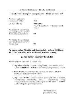Výsledky volieb - 27 novembra 2010