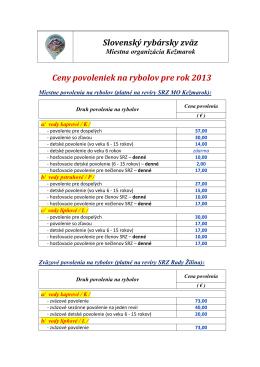 Cena povolení r - Mo SRZ Kežmarok